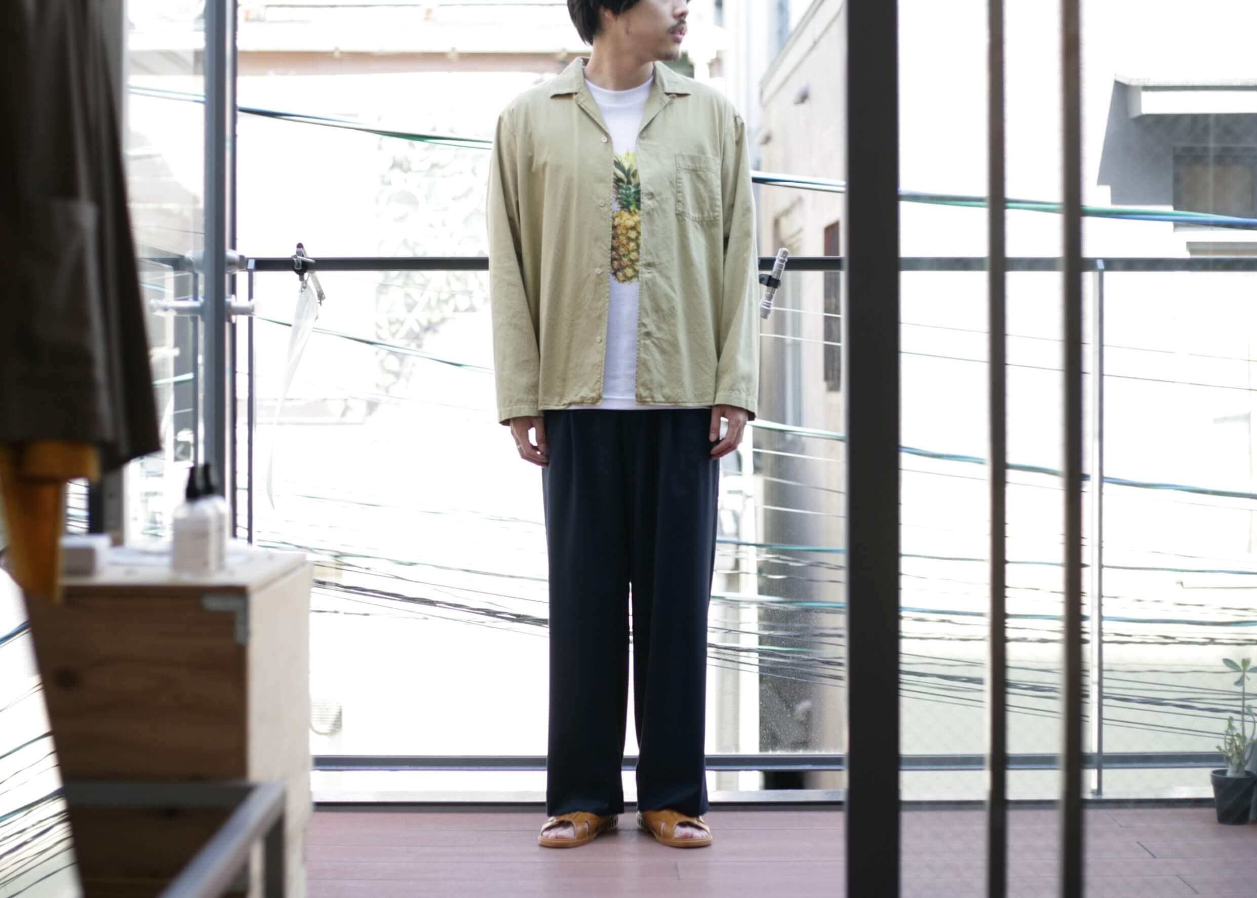 bunt - L/S open collar shirts 開けた状態でのスタイル