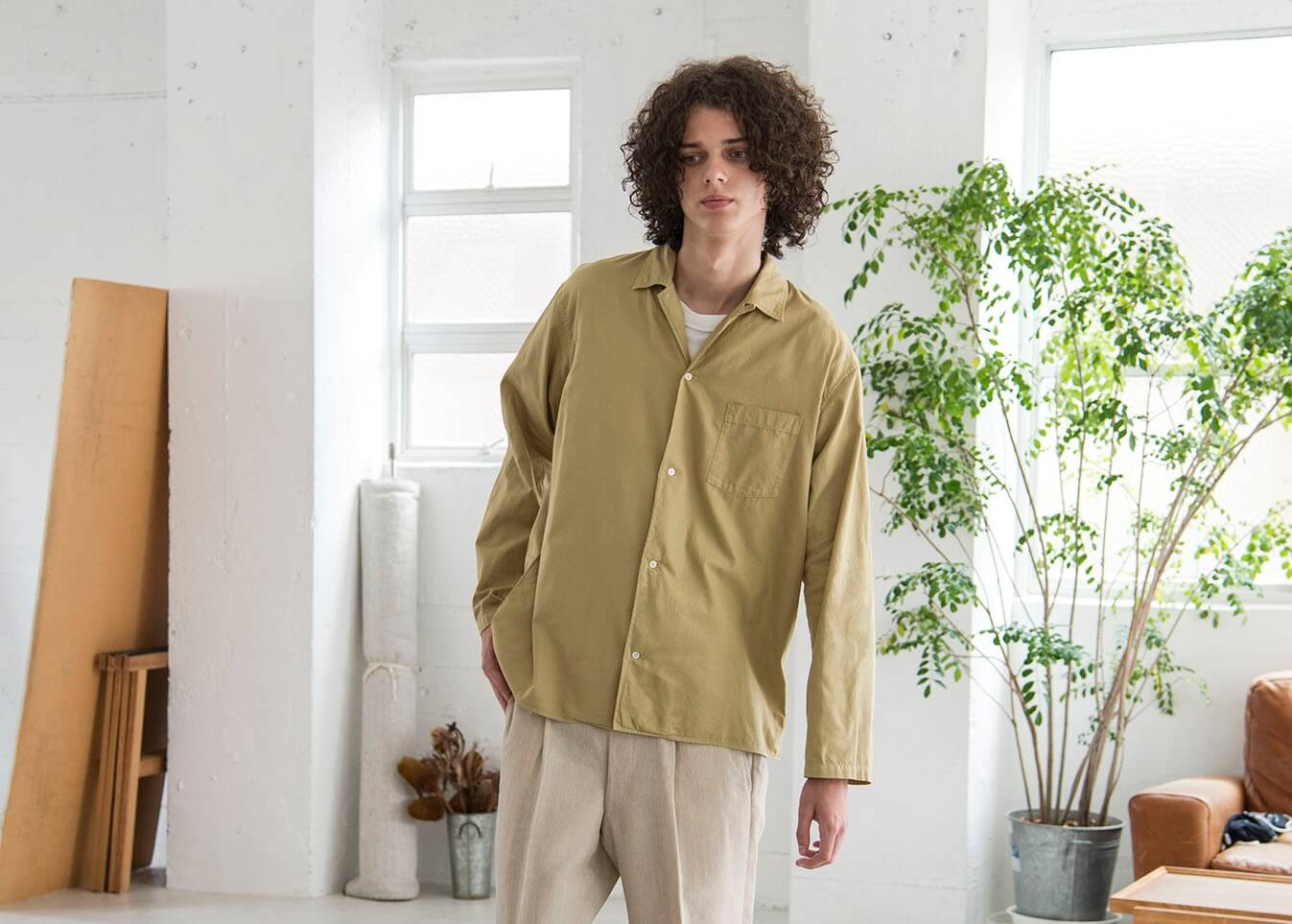bunt 18ss look - L/S open collar shirt