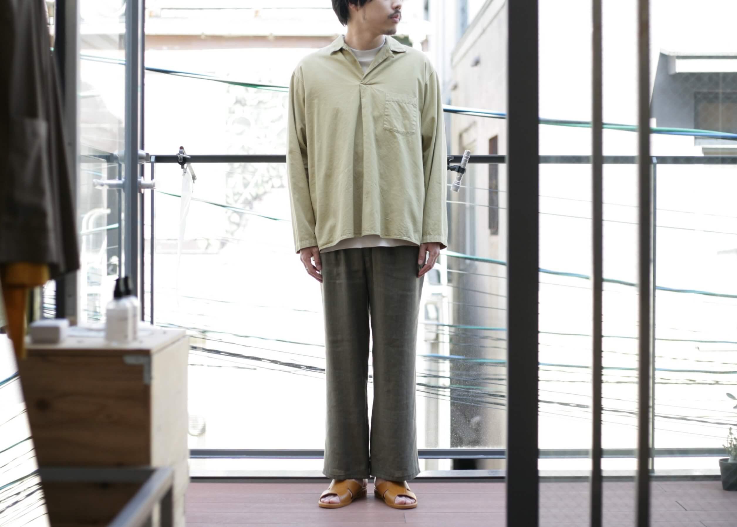 bunt - skipper shirts beige 着用写真