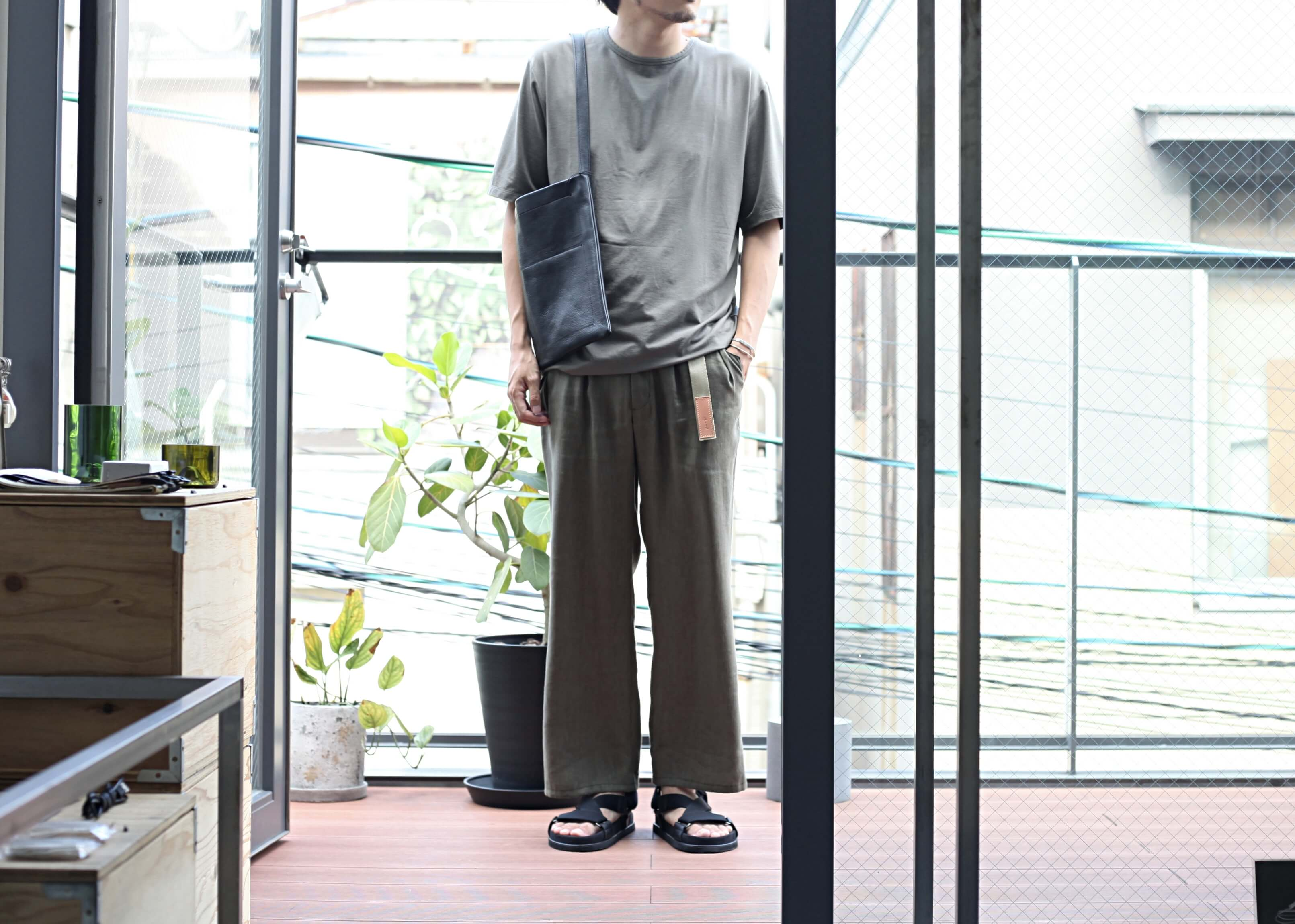lamond tencel washable s/s khaki 着用